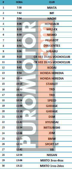 horario interclubes mayo 2016