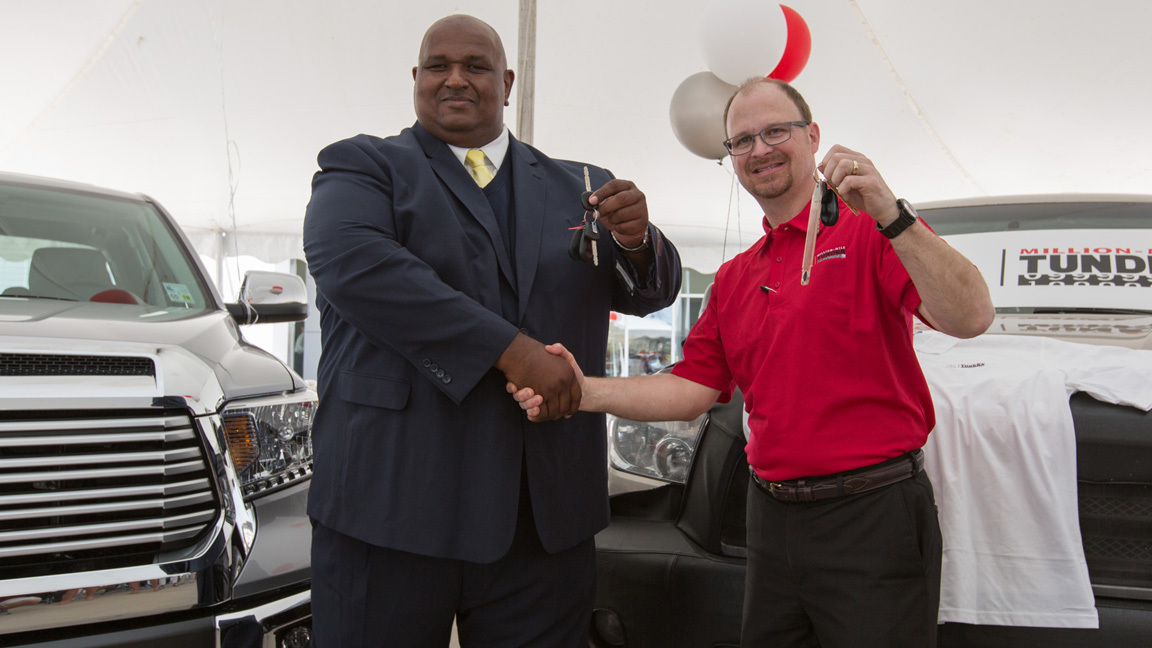 On May 11th 2016 Victor Sheppard was presented with a 2016 Tundra Limited in exchange for his Million-Mile 2007 Tundra during a ceremony at Greg LeBlanc Toyota in Houma, Louisiana. Here he is seen swapping keys with Toyota Tundra Chief Engineer Mike Sweers.