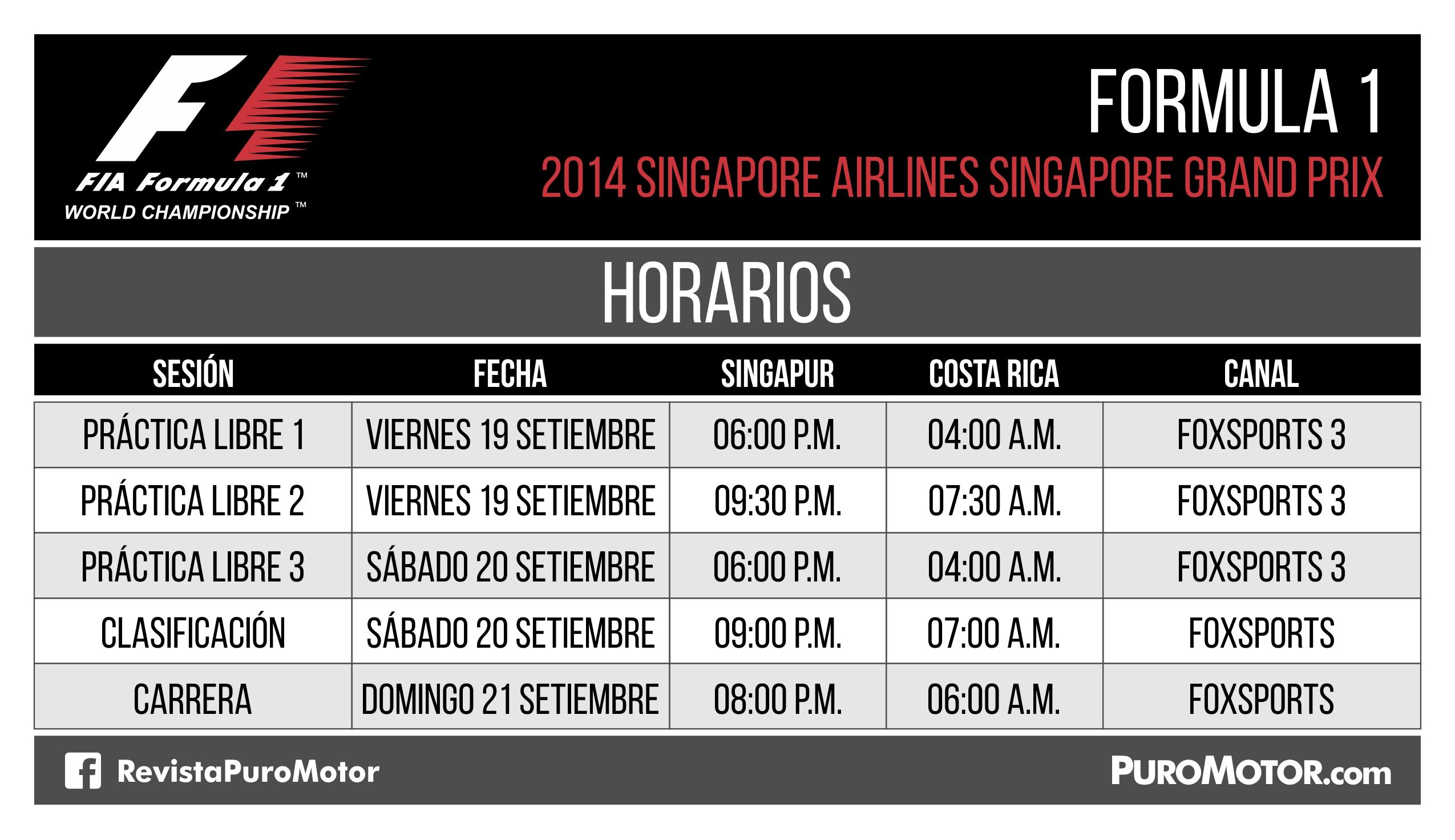 Horarios F1 Singapore