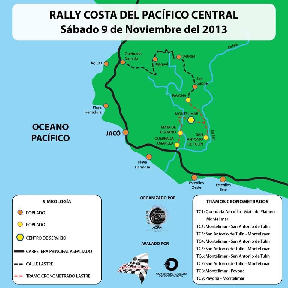 Mapa rally Costa Rica jaco